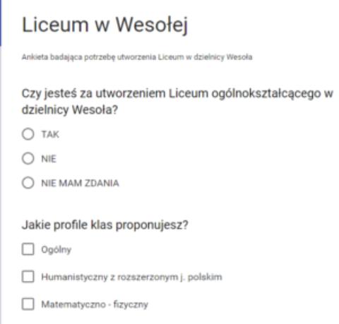 Ankieta – Liceum w Wesołej: TAK czy NIE ?